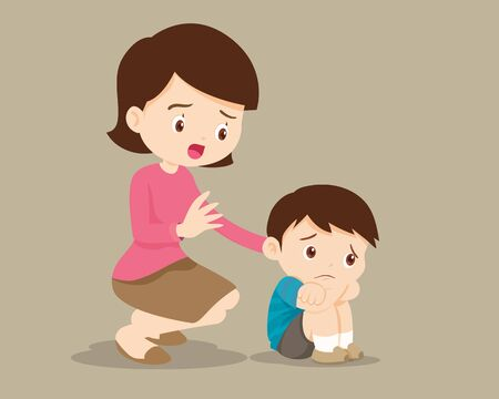 sad children wants to embrace.Mother Comforting Upset Elementary her son.Mom comforting sad boy feeling guilty.Illustration of a sad child, helpless, bullying.boy feeling guilty