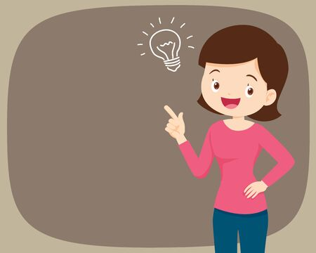 woman standing thinking get idea.youngwoman looking up on empty or blank.mother thinks about problem.Thoughtful people understand the problem.happy youngwoman find successful solution.