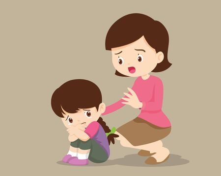 sad children wants to embrace.Mother Comforting Upset Elementary her daughter.Mom comforting sad girl feeling guilty.Illustration of a sad child, helpless, bullying.girl feeling guilty