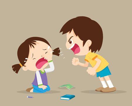 wütender Junge schreit Freund zum Weinen an