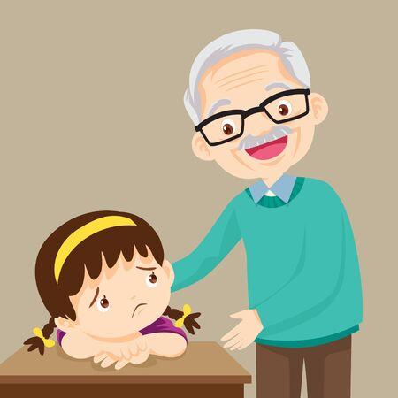 abuelo reconfortante niña triste. Ilustración de vector