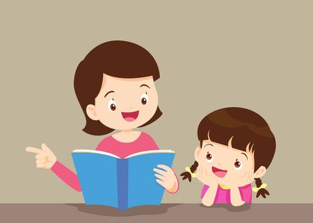 madre che legge un libro a sua figlia. La figlia ha ascoltato la madre, leggendo attentamente il libro. Vettoriali