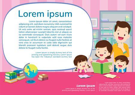Educación y aprendizaje, familia y niños pensando idea.Concepto de educación con plantilla de fondo familiar. Para banner web, telón de fondo, anuncio, cartel de promoción.