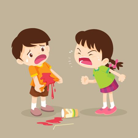 children girl bully the bad habit to friend with a drink falling onto the floor