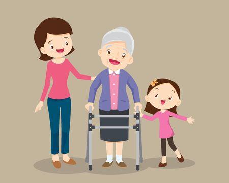 Älteres Gehen.Enkelin und Mutter helfen Großmutter, zum Gehwagen zu gehen.Kinder und Mutter Pflege für ältere Menschen.Kinder und alter Patient.Enkelin hilft ihrer Großmutter, zum Gehwagen zu gehen