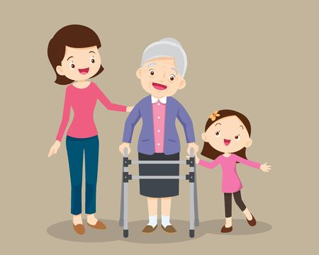 Elderly walking.granddaughterand mom help grandmother to go to the walker.Kids and mom Caring for the elderly.Childern and old patient.granddaughter helps her grandmother to go to the walker Stock Vector - 136914740