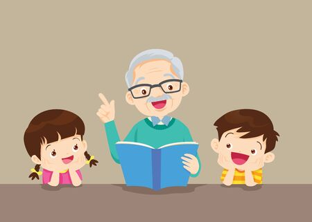 Grandfather is Reading Book to Him Grandchildren