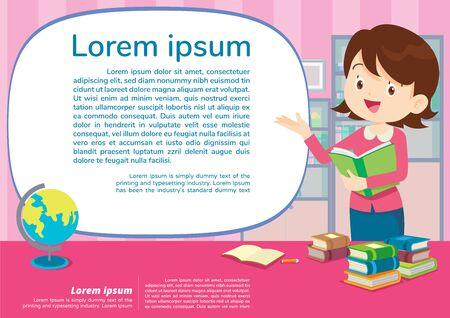leraar en student leren poster, onderwijs en leren poster terug naar school sjabloon., schoolactiviteiten.