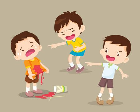 children boy bully the bad habit to friend with a drink falling onto the floor Illustration