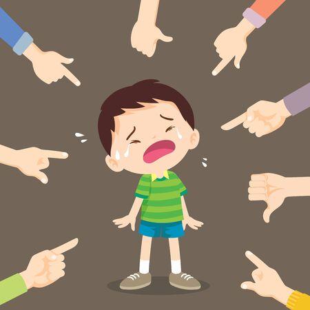 i bambini tristi vogliono abbracciare. Ragazzo triste in piedi sul pavimento circondato da mani indicanti che lo deridevano prepotente Vettoriali