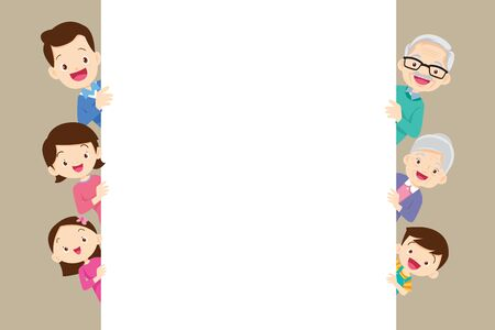 big family holding big empty banners for your text.Grandfather, Grandma, Father, Mother, Daughter, Son and White space. Ilustracja
