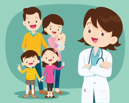 Smiling medical doctor and cute family.Medical family doctor and patients.