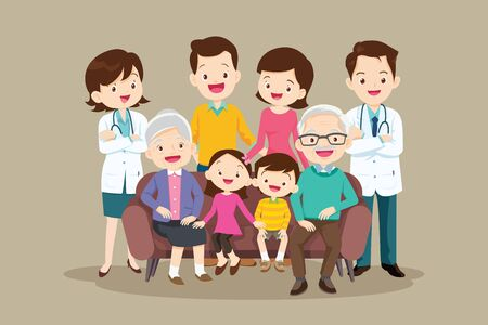Doctor and Big happy family sitting on the sofa. Grandmother, grandfather, father, mother, children illustration in cartoon style. Ilustracja