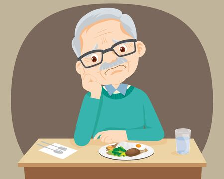 Old senior man Bored with food, Granfather don't want to eat.Elderly bored eating