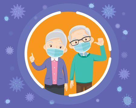 personnes âgées portant un masque médical de protection pour prévenir le virus.grands-parents portant un masque chirurgical.