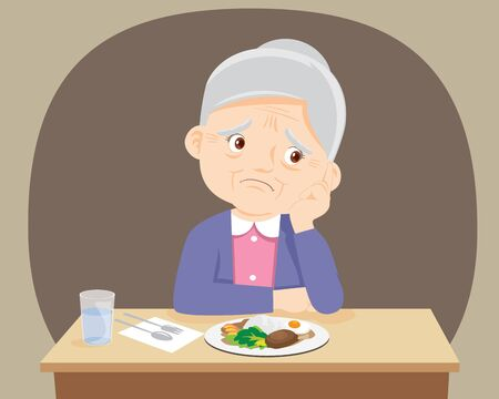 Old senior woman Bored with food, Granmother don't want to eat.Elderly bored eating Ilustracja