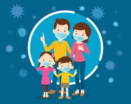 family wearing protective Medical mask for prevent virus.Dad Mom Daughter Son wearing a surgical mask. Ilustracja