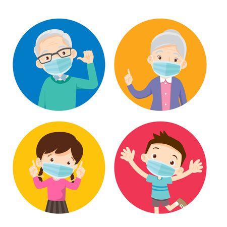 grandparents and children wearing a surgical mask to prevent virus.Elderly ,Daughter, Son wearing a surgical mask.