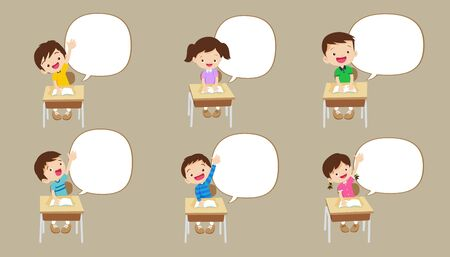 Pupils raising hand with speech bubble,Cute kids with speech bubbles Set,back to school and children.