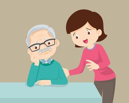 Sad Old senior man, daughter talking to sad old father comforting upset older man having problem.