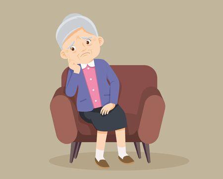 Triste anciana aburrida, Senior mujer sentada sola en el sofá Ilustración de vector