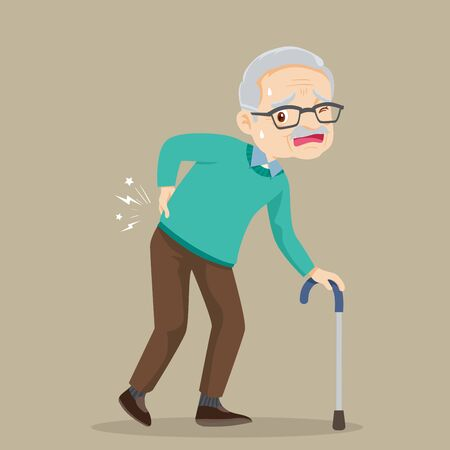 elderly man suffering from back pain.Old man with a cane.Grandfather suffering from back pain. Senior man sick.Senior disease.