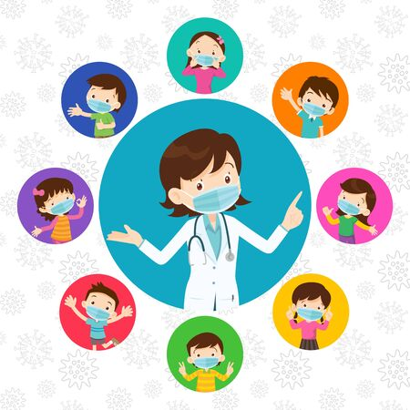 Doctor and children wear a medical face mask.Doctor and kids wearing protective Medical mask from virus.