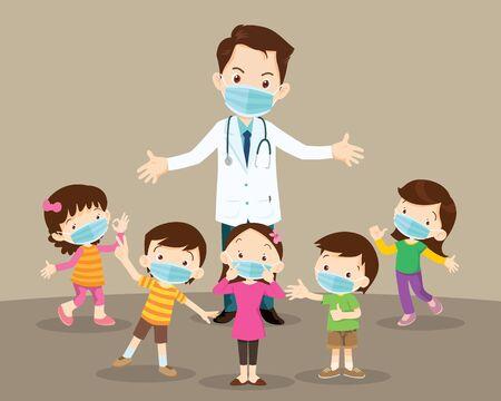 의사와 아이들은 복사 공간이 있는 의료용 안면 마스크를 착용합니다. 의사와 아이들은 바이러스로부터 보호 의료 마스크를 착용합니다.