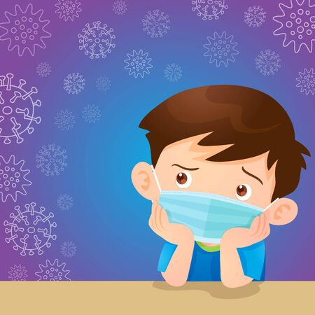 children boy wearing a surgical mask to prevent virus.kids wearing protective Medical mask.