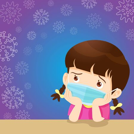 children girl wearing a surgical mask to prevent virus.kids wearing protective Medical mask.