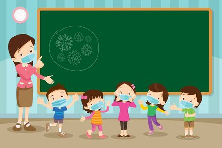 Teacher and childrens wear a medical face mask with chalkboard for copy space.Teacher,Boy and girl wear medical mask.Virus and protection.Prevent Pollution with a health mask