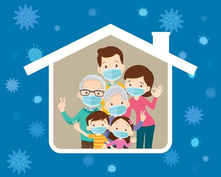 big family  wearing a surgical mask to prevent virus in house iconGrandfather,Grandmother,Dad, mother, son, daughter under the roof of the house. Ilustracja