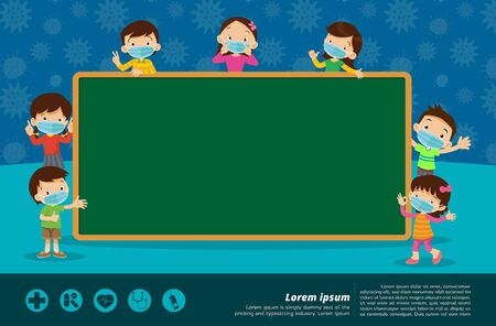 childrens wear a medical face mask with chalkboard for copy space.Teacher,Boy and girl wear medical mask.Virus and protection.Prevent Pollution with a health mask
