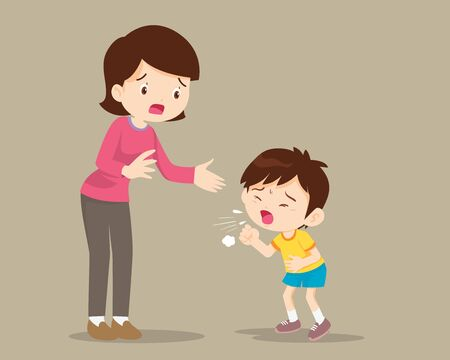 Mother and Sick boy coughing hard,Sick Child blow the nose and coughing show his mom. Ilustracja