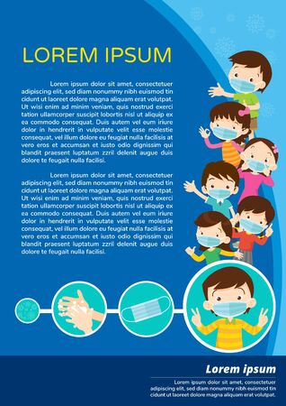 children wear a medical face mask with copy space.Boy and girl wear medical mask.Virus Covid-19  and protection.Prevent Pollution with a health mask, Healthcare for pollution in the city