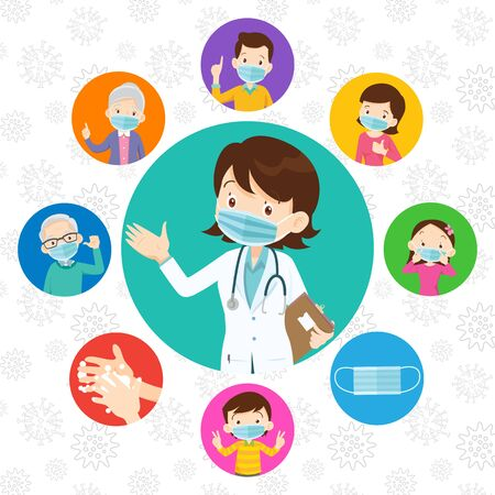 Doctor and family wear a medical face mask.family and Doctor wearing protective Medical mask from virus covid-19.