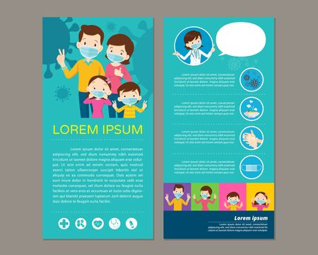 Doctor and family wear a medical face mask with copy space.family and doctor present wear a medical face mask template for print.Virus Covid-19  and protection.Prevent Pollution with a health mask