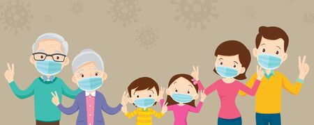 family and grandparent wearing protective Medical mask for coronavirus,Covid-19, and show victory, family wearing protective Medical mask for prevent virus Covid 19 and victory hand.