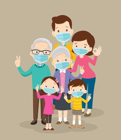 family wearing protective Medical mask for prevent coronavirus  Covid-19.Dad Mom Daughter Son wearing a surgical mask. Ilustracja