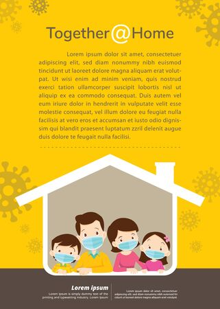 family wearing protective Medical mask for prevent virus Covid-19 together at home.Dad Mom Daughter Son wearing a surgical mask in house icon. Ilustracja