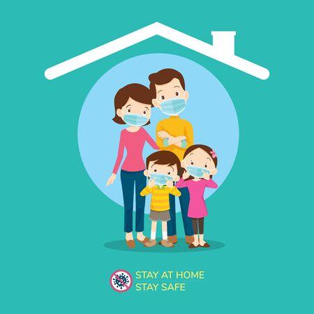 Bleiben Sie zu Hause, bleiben Sie sicher, Corona-Virus, Covid-19-Kampagne, um zu Hause zu bleiben. Papa Mutter Tochter Sohn trägt eine chirurgische Maske im Haussymbol. Lifestyle-Aktivität, die Sie zu Hause durchführen können, um gesund zu bleiben.