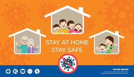 stay at home stay safe,Corona virus ,covid-19 campaign to stay at home.Dad Mom Daughter Son wearing a surgical mask in house icon. lifestyle activity that you can do at home to stay healthy.