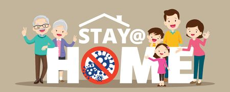 Stay at home with family protective self for prevent coronavirus Covid-19.Dad Mom Daughter Son grandparent stay safe campaign to stay at home ,lifestyle activity that you can do at home to stay healthy.