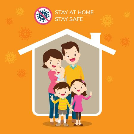 Corona virus covid 19 campaign to stay at home. lifestyle activity that you can do at home to stay healthy Ilustracja