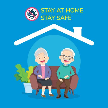 Happy elder couple sitting stay at home to prevent virus covid-19,Happy senior man woman family sitting on the sofa and rest