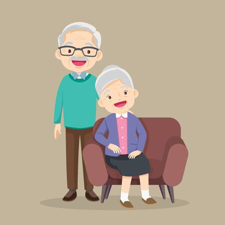 Happy senior man woman family sitting on the sofa and rest,Happy elder couple sitting,Elderly couple husband and wife sitting on couch embracing Ilustracja