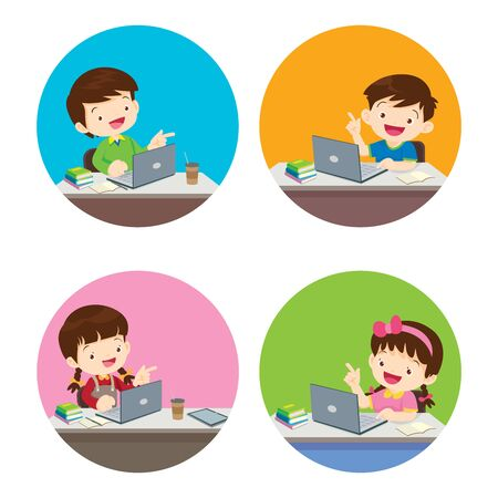 stay at home stay safe,children Boy and Girl using technology gadget in house. lifestyle activity that you can do at home to stay healthy. Vettoriali