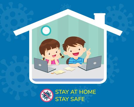 stay at home stay safe,Corona virus ,covid-19 campaign to stay at home.children Boy and Girl using technology gadget in house icon. lifestyle activity that you can do at home to stay healthy. Ilustración de vector