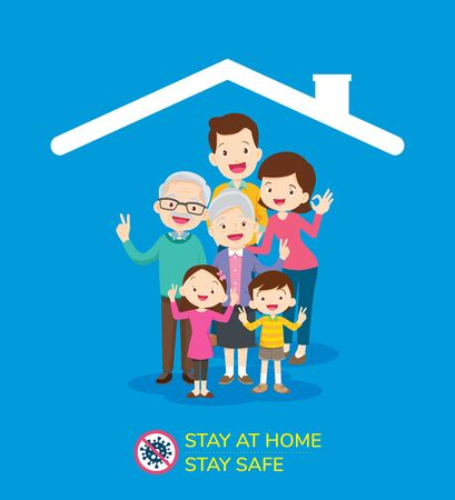 Corona virus (covid 19) campaign to stay at home. lifestyle activity that you can do at home to stay healthy. Flat design vector Ilustracja