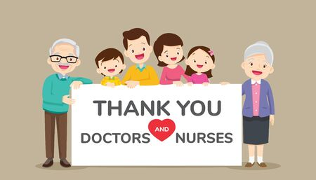 big family holding empty banners for Thank you doctors and nurses working in the hospitals and fighting the coronavirus,Thank you doctor and Nurses and medical personnel team for stop covid-19.
